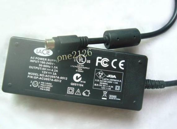 lacie ac power supply adapter 5v 4 2a 12v 3a 4 pin ebay. Black Bedroom Furniture Sets. Home Design Ideas