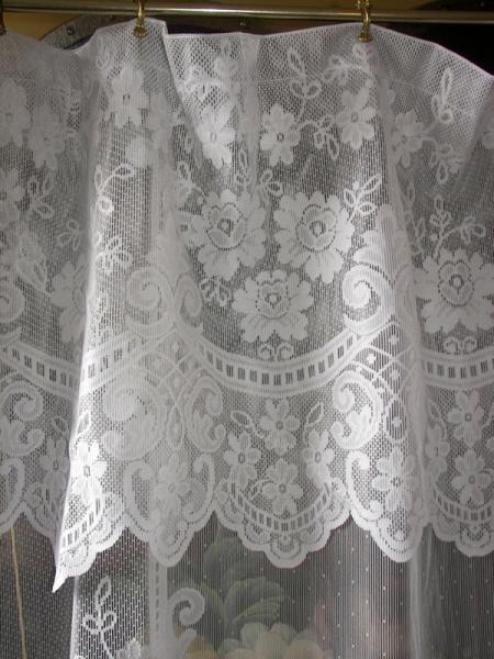 Vintage French Country Victorian Net Floral Lace Fleur De Lis Drapes Curtains Ebay