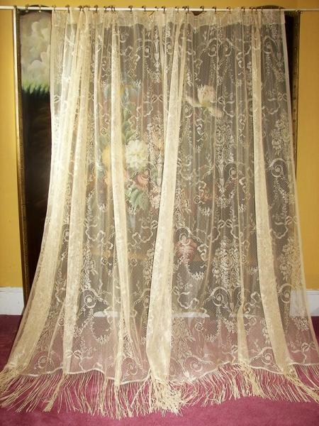 Vintage Victorian Neo Classical French Country Net Floral Lace Drapes Curtains Ebay