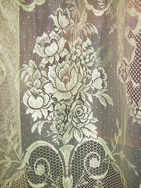 Vintage Victorian Net Floral Lace Urns Ribbons Drapes