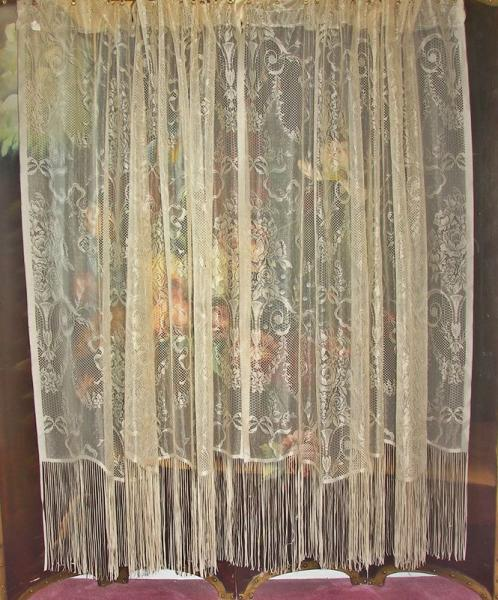 VICTORIAN NET FLORAL LACE URNS RIBBONS DRAPES CURTAINS FRINGE PANELS 3