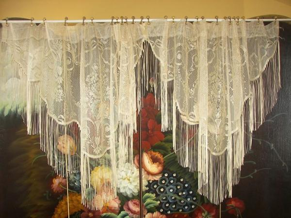 Vintage Curtains Lace White Panels Drapes Window Coverings Floral