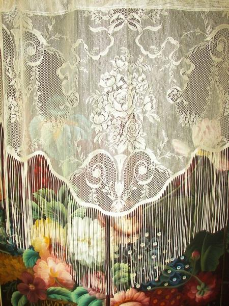 Vintage Victorian Net Floral Lace Urns Ribbons Drapes