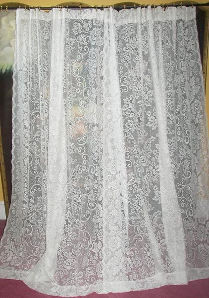 Vintage Victorian Chic French Country Net Floral Lace Drapes Curtains Pair Set Ebay