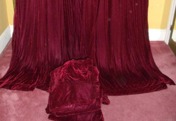 Vintage Victorian Bohemian Wine Burgundy Velvet Drapes