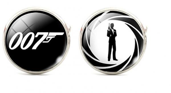 james bond 007 character and logo glass domed cufflinks ebay