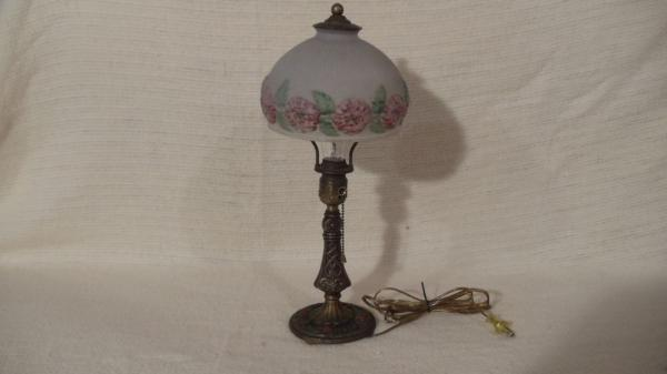 Vintage Antique Victorian Style Table Lamp Reverse Painting Glass