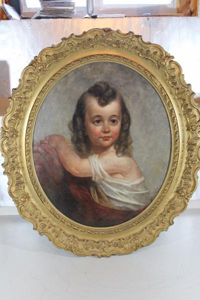 cbf4b3d50a82 Antique Victorian Oil Canvas Painting of a Child In Rare Gold Gilt ...