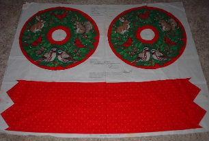 CHRISTMAS WREATH Fabric PANEL Make Cloth Stuffed RABBIT Squirrel BIRD