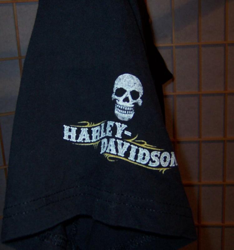 Harley Davidson Sz M Black Skull Anchorage Alaska T Shirt