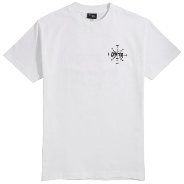 Creature RUNES Skateboard T Shirt WHITE LARGE