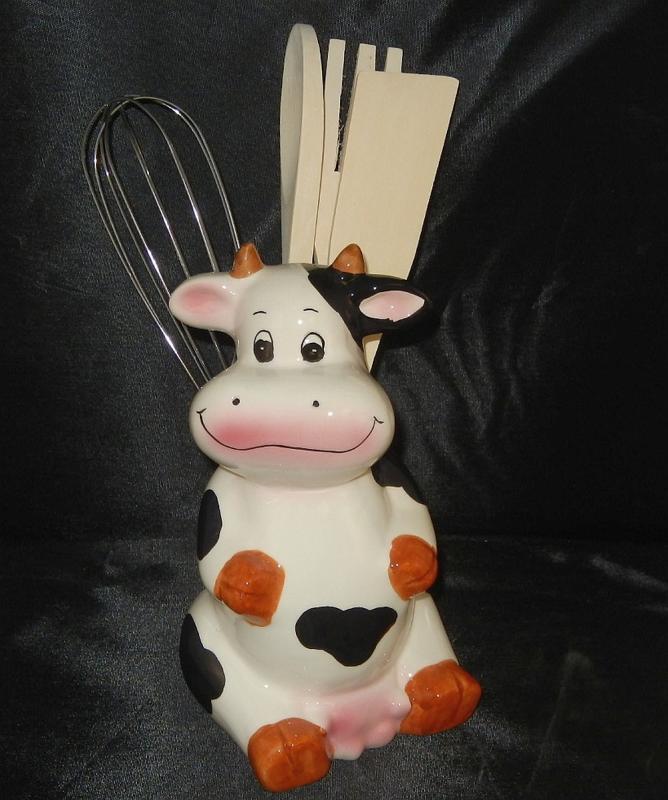 Cow theme kitchen utensil holder w utensils set brand new - Kitchen cow theme ...