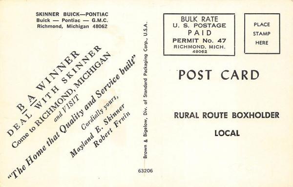 Details about Richmond MI Skinner's Buick-Pontiac-GMC Dealership Postcard
