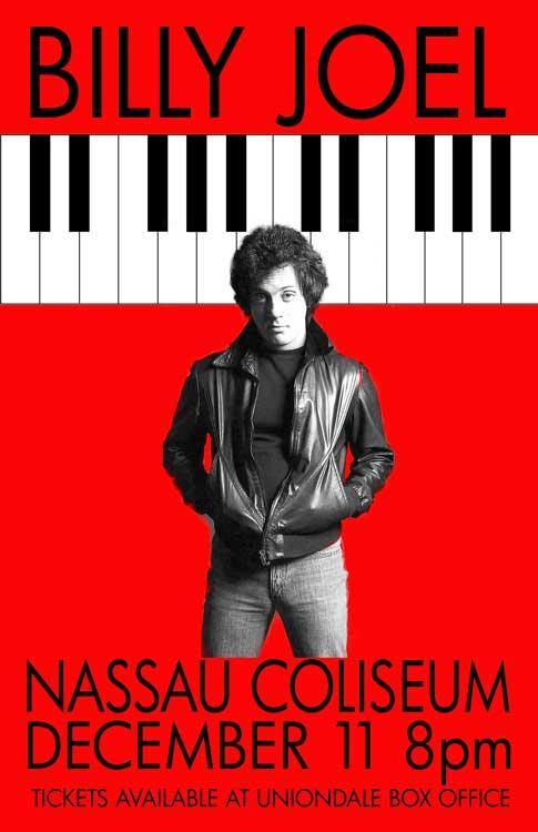 BILLY JOEL REPLICA*NASSAU COLISEUM*1977 CONCERT POSTER