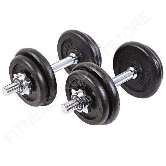 Free Weights Strength Training: 20kg Cast Iron Dumbells Set Free Weights Gym Weight