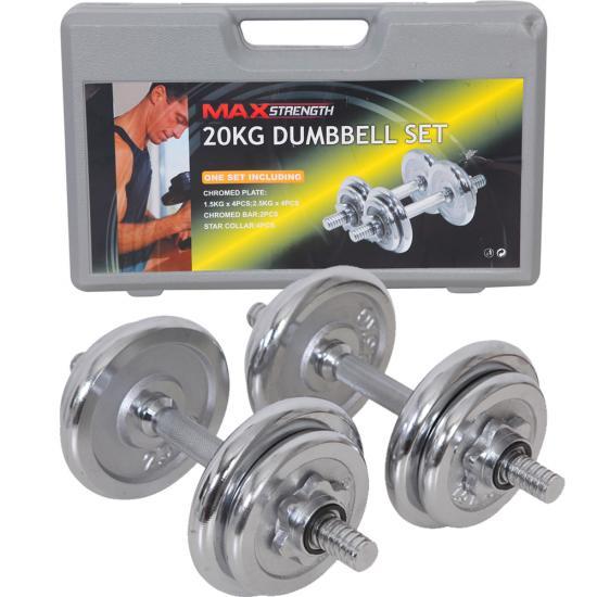 Voit Dumbbell Set 20kg: 20kg Chrome Dumbells Weights Set Dumbbell Training Iron