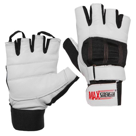 Gym Gloves Weight Lifting Leather Workout Wrist Support: Leather Weight Lifting Gym Training Gloves White Double