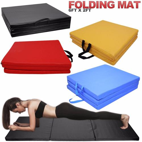 Yoga Gym Exercise Tri Folding Mat Thick Foam Fitness