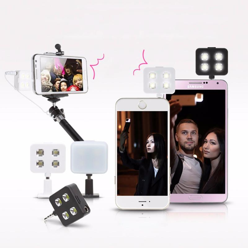 photo 4 led fill light lamp jack selfie pole for iphone ipad cell phone. Black Bedroom Furniture Sets. Home Design Ideas