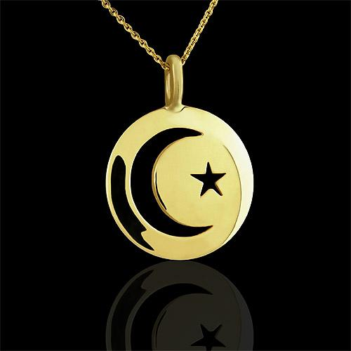 Crescent Moon and Star 14k Yellow Gold Pendant