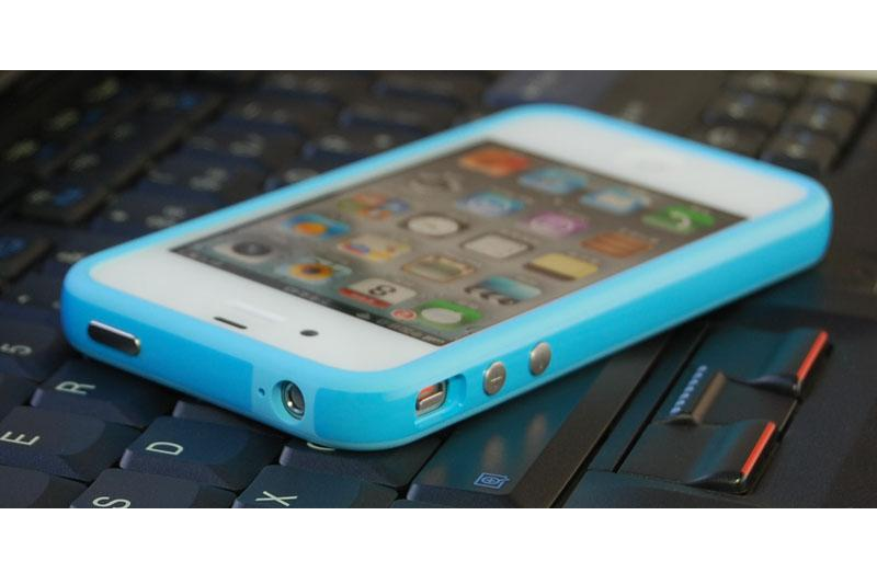 NEW Sky Blue TPU Rubber Plastic Bumper Case Cover Metal Buttons iPhone