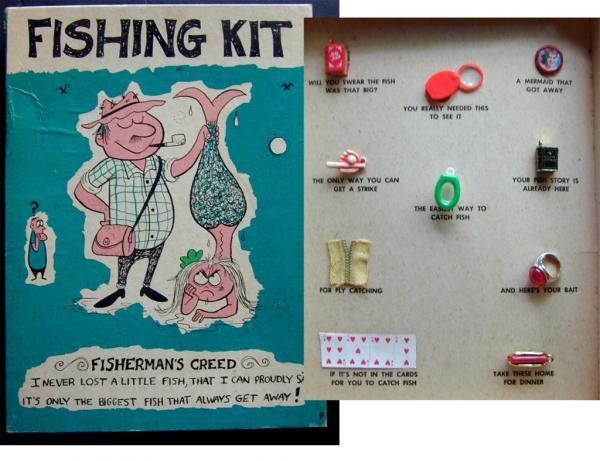 Whimsical vintage ideal fishing kit fisherman gag gift for Fishing gag gifts