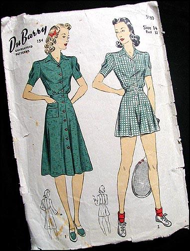 b822310b546 DuBARRY 1940s PLAYSUIT PATTERN w  Skirt Romper Shorts 32 Bust Vintage  SPORTSWEAR. Click here to Enlarge Click here to Enlarge
