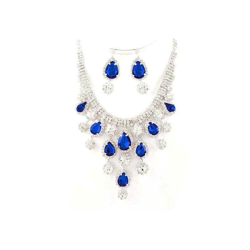 Royal Blue Clear Crystal Link Necklace Earring Set Elegant Bib Silver
