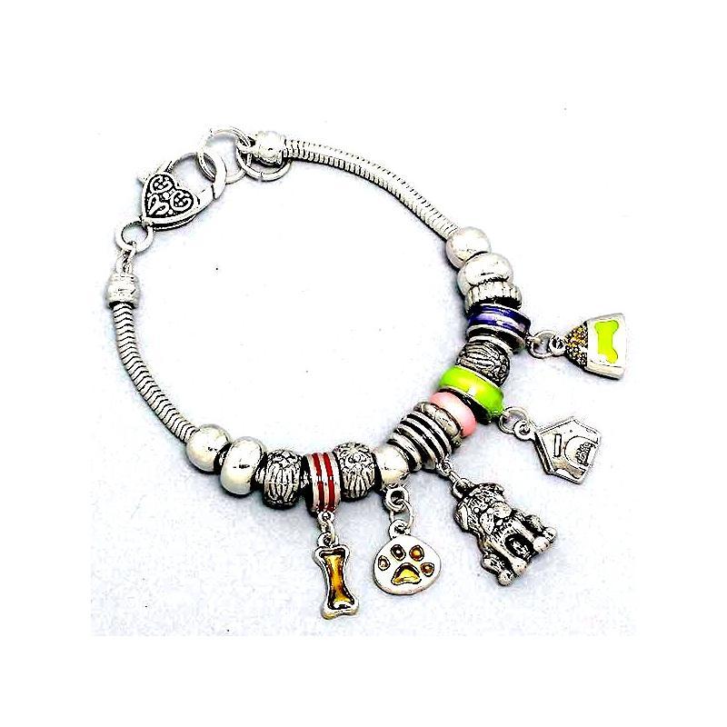 Charm Bracelet Decorative Bead Heart Paw Print House Bone Bowl