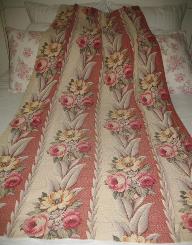 of 4 Vtg Glencourt Pink Rose Floral Barkcloth Fabric Pleated Drape