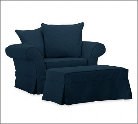 Pottery barn charleston chair a half ottoman slipcover for Navy blue chair and ottoman
