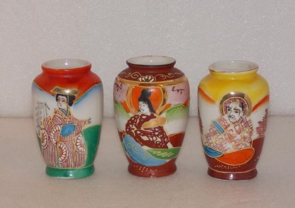 3 Vintage Japanese Handpainted 3 Moriage Vases Trico Nagota Japan