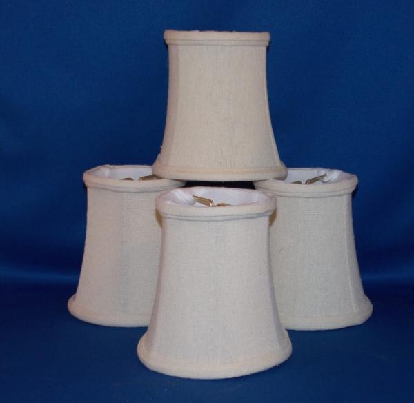 taper drum linen chandelier mini lamp shades clip on off white 4 3 8. Black Bedroom Furniture Sets. Home Design Ideas