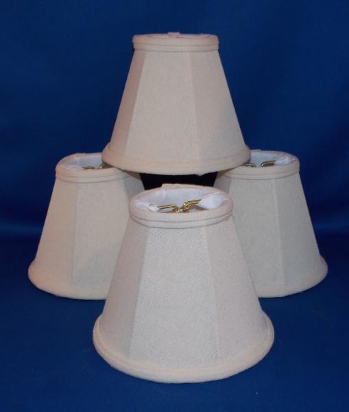 details about set of 4 bell shaped linen chandelier mini lamp shades. Black Bedroom Furniture Sets. Home Design Ideas