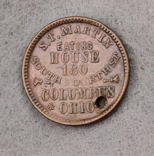 Civil War Token St Martin Eating House Columbus Ohio Liberty Head with