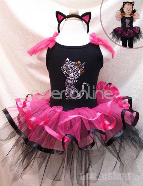Halloween Kitty Cat Girls Kids Party Costume Leotard Ballet Tutu Dress Sz 1 8