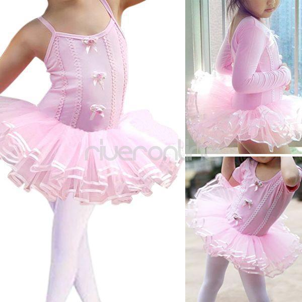 Girls Kids Flower Ballet Dance Dress Leotard Tutu Skirt Skate Party Costume 2 6Y