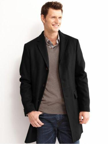 BANANA REPUBLIC TOPCOAT JACKET COAT BLACK WOOL MEN TAILORED FIT ...