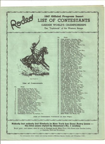 1947 Madison Square Garden Rodeo Program Ebay