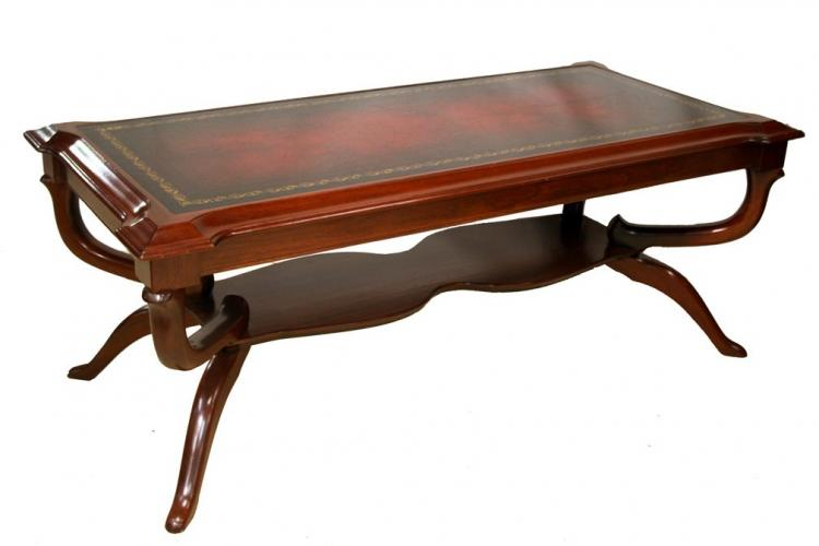 American regency style mahogany original leather top for Coffee tables york pa