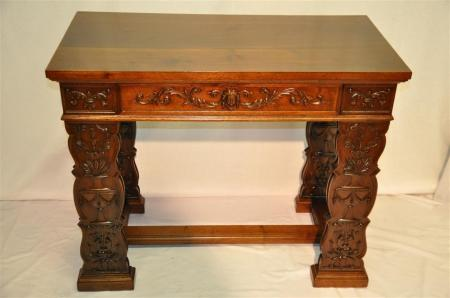 art nouveau entry hall console table black walnut with intricate carving 1900 39 s ebay. Black Bedroom Furniture Sets. Home Design Ideas
