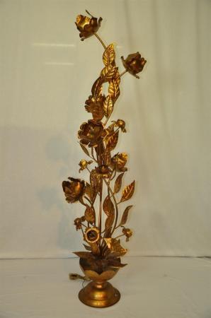 Vintage Decorative Italian Gold Gilt Tole Metal Floor Lamp