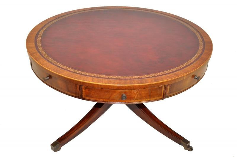 Weiman heirloom regency style inlaid mahogany drum coffee for Coffee tables york pa