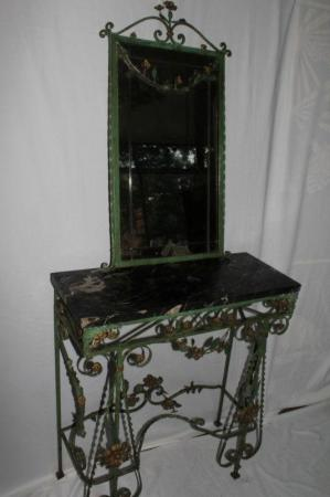French Wrought Iron Marble Top Console And Mirror With