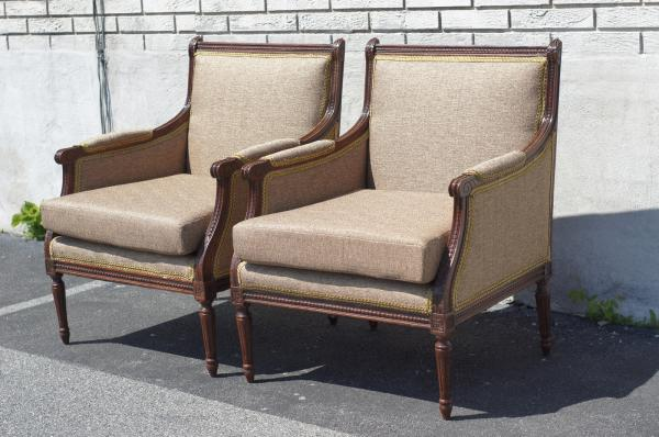 Pair of Walnut French Louie XVI Living Room Chairs Newly ...
