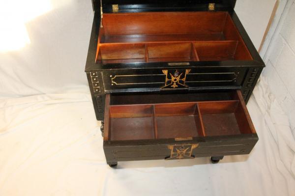 Gorgeous 19th C American Ebonized Inlaid Marquetry Ladies Make Up Table Vanity Ebay