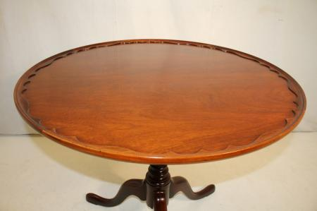 charming queen anne style mahogany brandt pie crust round side end