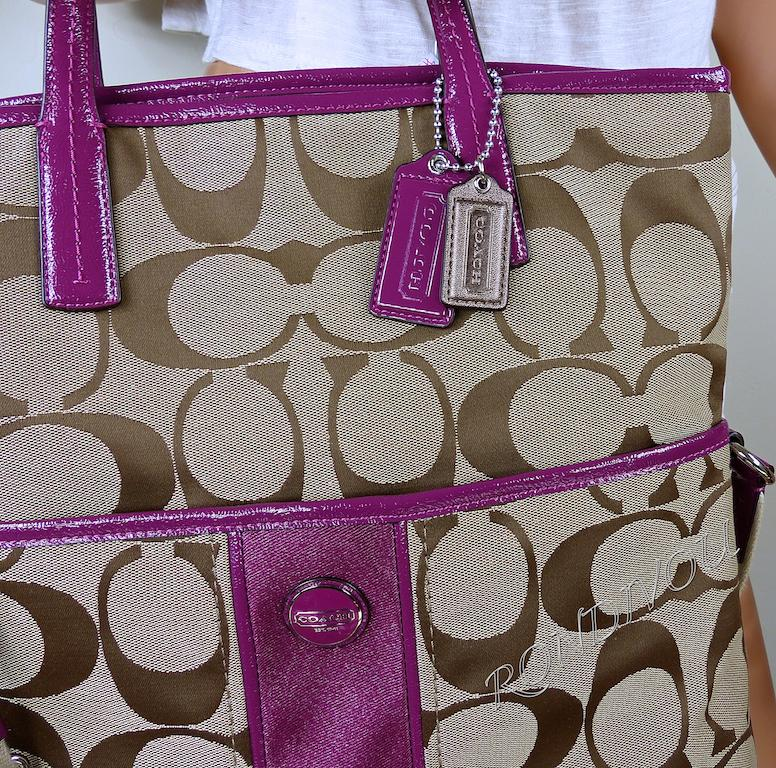 Nwt Coach Large Pink Brown Signature Shoulder Crossbody