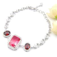 Luckyshine Oval Fire BI-Colored Tourmaline Silver Chain Bracelets Bangles for Women