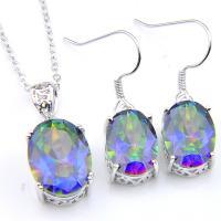 Jewelry Set Rainbow Mystic Fire Topaz Gems Platinum Plated Pendants Earrings